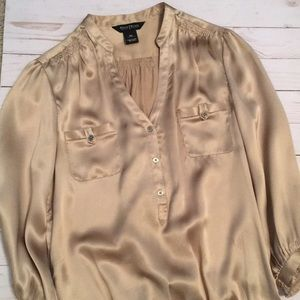 Gold silky blouse from White House Black Market